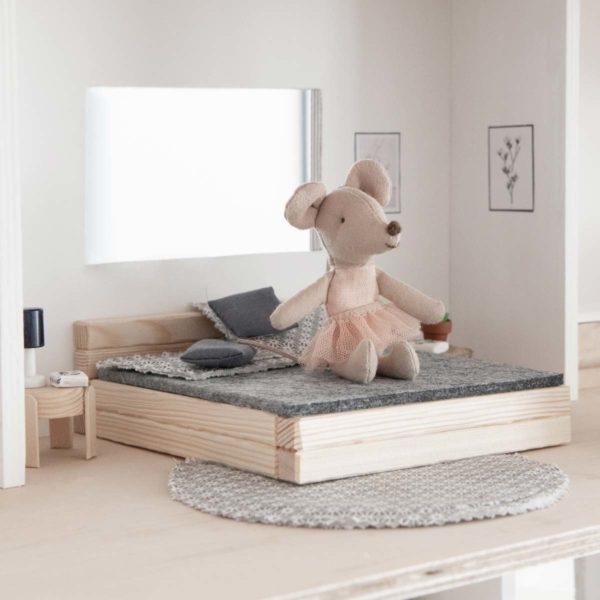Bastelset Puppenhausmöbel Bett aus Holz