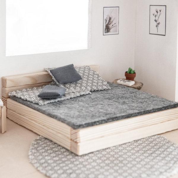 Bastelset für Puppenhaus Bett Holz